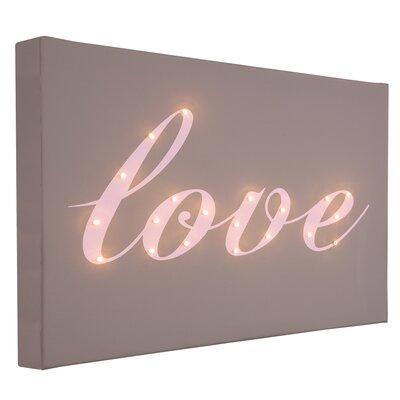 Illuminated Canvas Love Italic Typography on Canvas