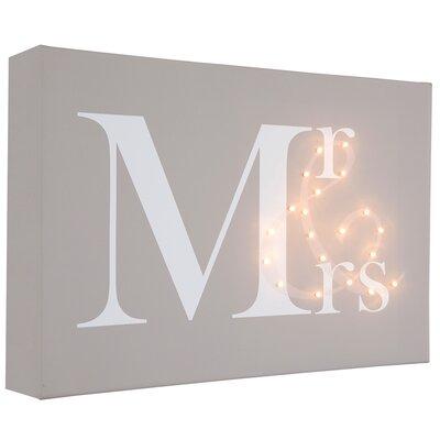 Illuminated Canvas Mr & Mrs Typography on Canvas