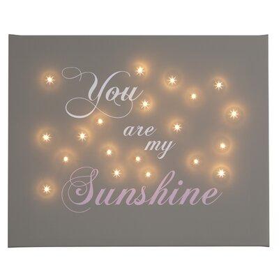 Illuminated Canvas You Are My Sunshine Typography on Canvas