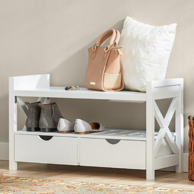 Cyril Wood Storage Bench Color: White