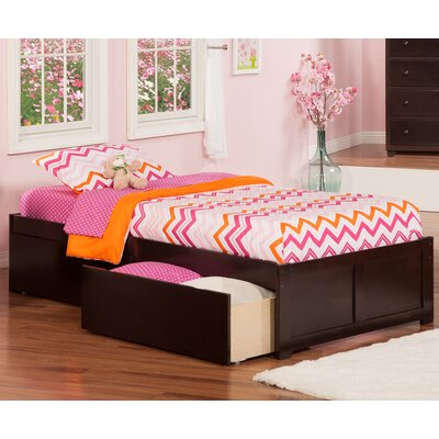 Mackenzie Extra Long Twin Platform Bed with Drawers Color: Espresso
