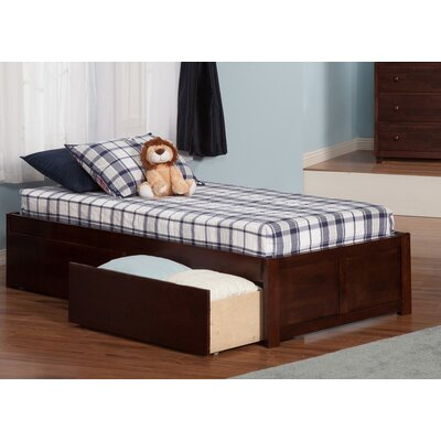 Mackenzie Extra Long Twin Platform Bed with Drawers Color: Antique Walnut