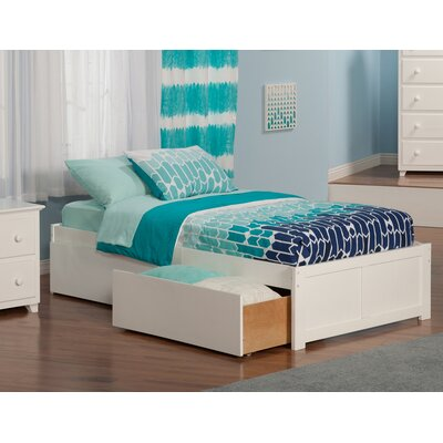 Mackenzie Extra Long Twin Platform Bed with Drawers Color: White