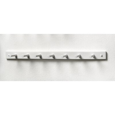 Buchanan 7 Peg Wall Mounted Coat Rack Color: White
