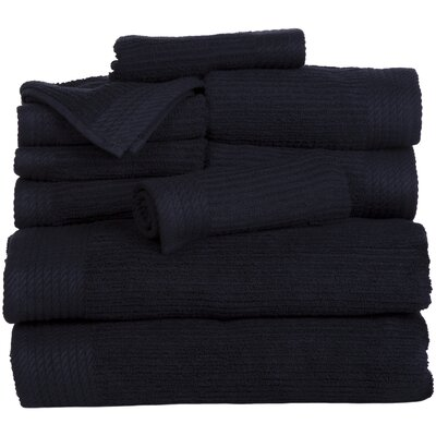 Pernelia 10 Piece Egyptian-Quality Cotton Towel Set Color: Black