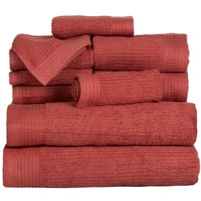 Pernelia 10 Piece Egyptian-Quality Cotton Towel Set Color: Brick