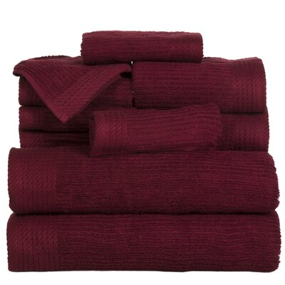 Pernelia 10 Piece Egyptian-Quality Cotton Towel Set Color: Burgundy