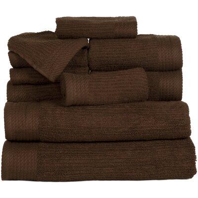 Pernelia 10 Piece Egyptian-Quality Cotton Towel Set Color: Chocolate