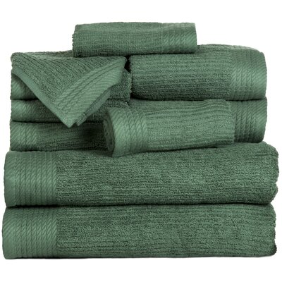 Pernelia 10 Piece Egyptian-Quality Cotton Towel Set Color: Green