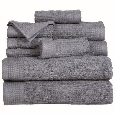 Pernelia 10 Piece Egyptian-Quality Cotton Towel Set Color: Silver