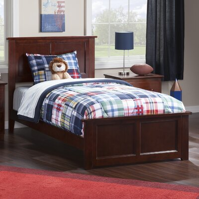Alanna Panel Bed With Legs Color: Walnut, Size: Twin