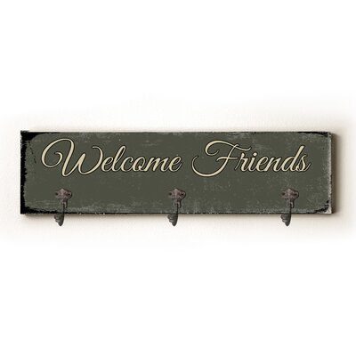Welcome Friends Solid Wood Wall Mounted Coat Rack
