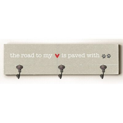 Road to My Heart Solid Wood Wall Mounted Coat Rack