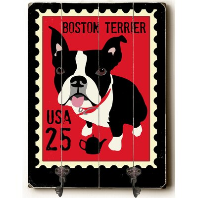 Boston Terrier Leash Planked Wood Wall Mounted Coat Rack