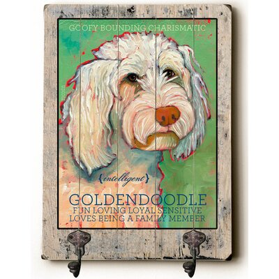 Goldendoodle Planked Wood Wall Decor Wall Mounted Coat Rack