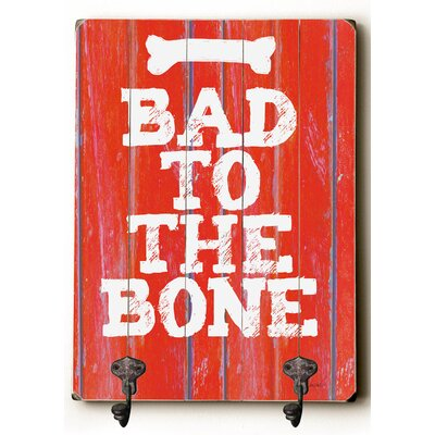 Bad to the Bone Planked Wood Wall Mounted Coat Rack