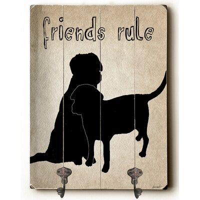 Friends Rule Planked Wood Wall Mounted Coat Rack