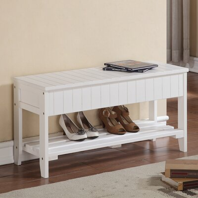 Rumford Wood Storage Bench Color: White