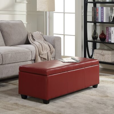 Boston Faux Leather Storage Bench Upholstery Color: Red