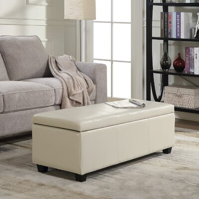 Boston Faux Leather Storage Bench Upholstery Color: Cream
