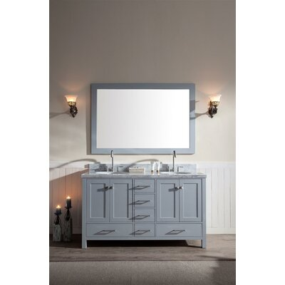 "Marine 61"" Double Bathroom Vanity Set with Mirror Base Finish: Grey"