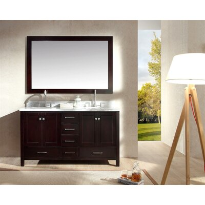 "Marine 61"" Double Bathroom Vanity Set with Mirror Base Finish: Espresso"