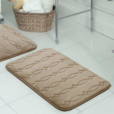"Kirkwood Plush Memory Foam Bath Mat Color: Linen, Size: 17"" W x 24"" L"