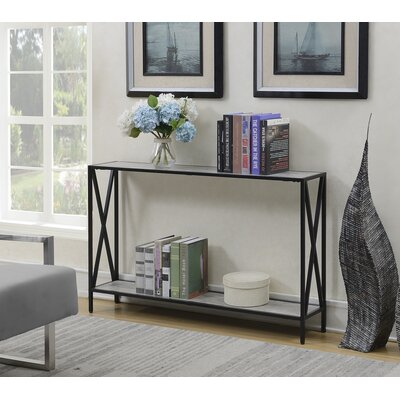 Abbottsmoor Metal Frame Console Table Color: Faux Birch