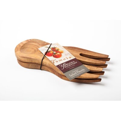 IC Innovations 21.5cm Acacia Wood Salad Hands in Brown