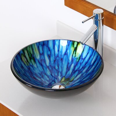 Double Layered Glass Circular Vessel Bathroom Sink Drain Finish: Chrome