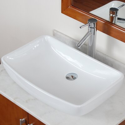 Grade A Ceramic Rectangular Vessel Bathroom Sink Drain Finish: Chrome