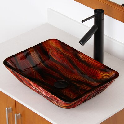 Hot Melted Contrasting Hand Painted Glass Rectangular Vessel Bathroom Sink Drain Finish: Oil Rubbed Bronze