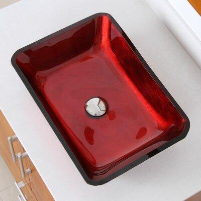 Hand Painted Velvet Glass Rectangular Vessel Bathroom Sink Drain Finish: Chrome