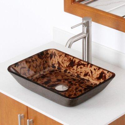 Abstract Glass Rectangular Vessel Bathroom Sink Drain Finish: Brushed Nickel