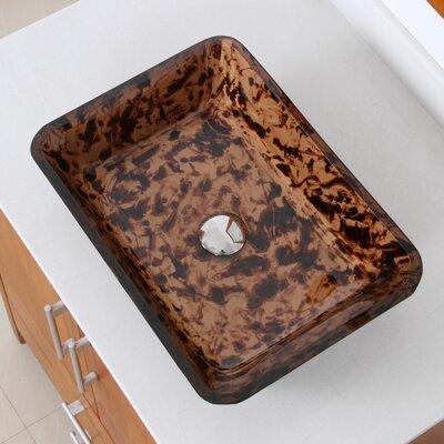 Abstract Glass Rectangular Vessel Bathroom Sink Drain Finish: Chrome