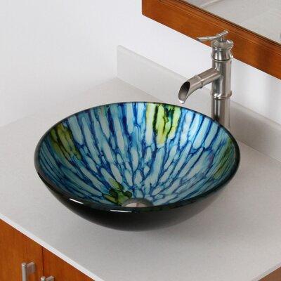 Double Layered Glass Circular Vessel Bathroom Sink Drain Finish: Brushed Nickel