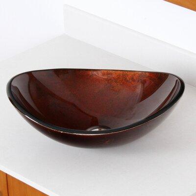 Hand Painted Glass Oval Vessel Bathroom Sink Sink Finish: Dark Bronze