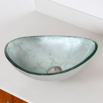 Hand Painted Glass Oval Vessel Bathroom Sink Sink Finish: Silver