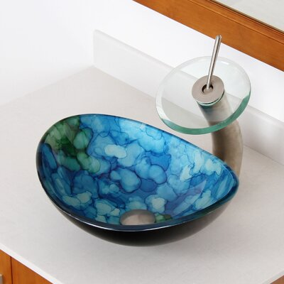 Hand Painted Watercolor Boat Glass Oval Vessel Bathroom Sink Drain Finish: Brushed Nickel