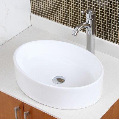Ceramic Oval Vessel Bathroom Sink Drain Finish: Chrome