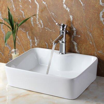 Ceramic Rectangular Vessel Bathroom Sink Drain Finish: Chrome
