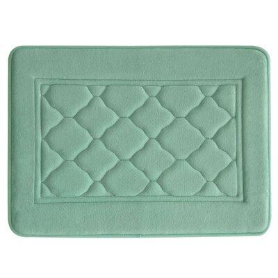 "Microban Florence Memory Foam Bath Rug Size: 17"" W x 24"" L, Color: Aqua"