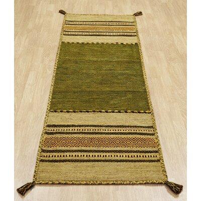 Caracella Handgewebter Teppich Kelim in Oliv