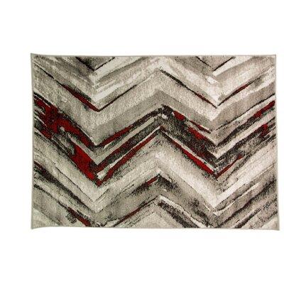 Caracella Teppich Graphic Winkel in Schwarz/ Rot