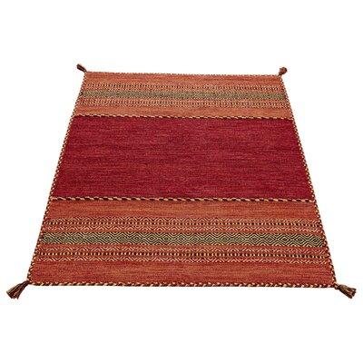 Caracella Handgewebter Teppich Kelim in Rot