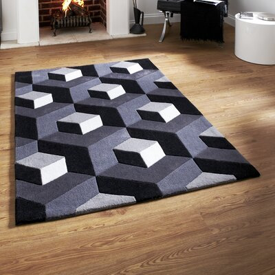 Caracella Handgefertigter Teppich Hong Kong in Schwarz/ Grau