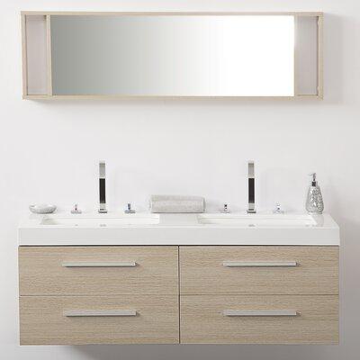Caracella 140cm Wandmontierter Waschtisch für Doppelbecken mit Spiegel und Schränke