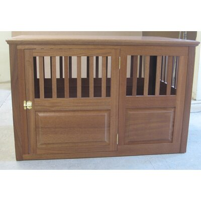 "Solid Wood Pet Crate Size: Medium (27"" H x 25"" W x 40"" L), Color: Mahogany, Door Location: Side - Left Side"
