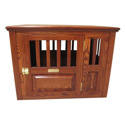 "Dixie Handmade Furniture-Style Pet Crate Size: Small (23"" H x 24"" W x 29"" L), Color: Medium Walnut, Door: Left Side Door"