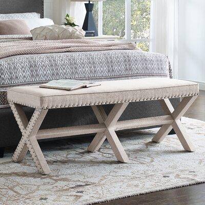 Wynwood X Base Upholstered Bench Upholstery: Beige